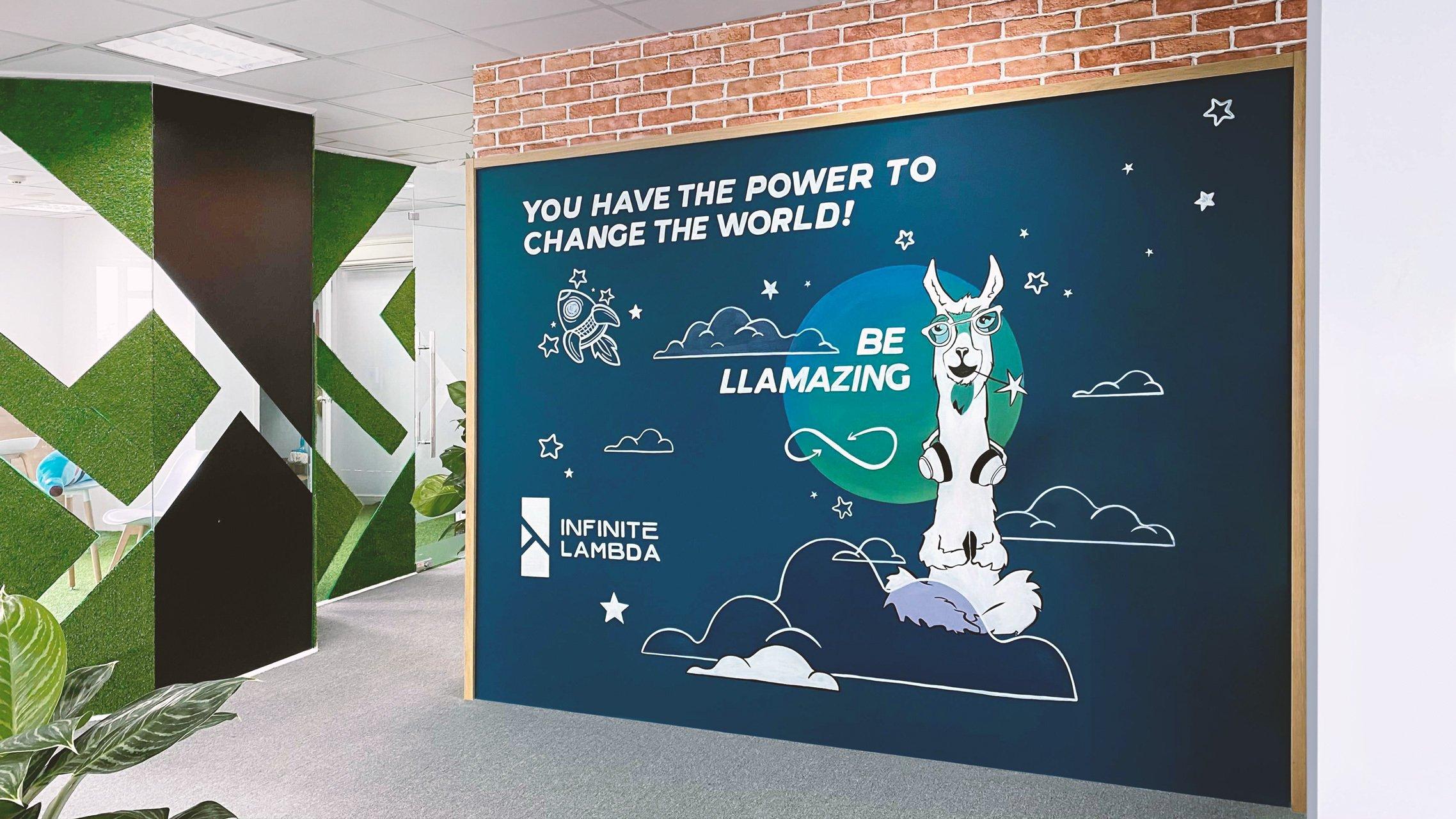 Llama wall at the HCMC office